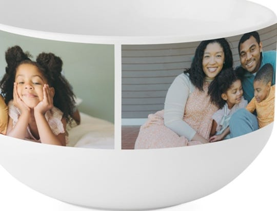 Use up to four photos in this 24-ounce bowl perfect for soup or cereal.