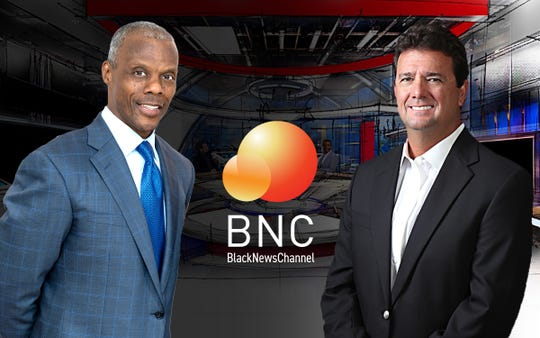 J.C. Watts, left, is co-founder and chairman of the Black News Channel with CEO Bob Brillante.