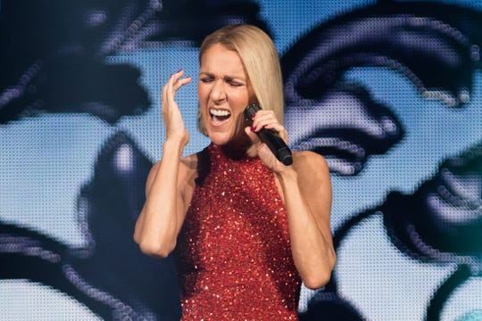 """Celine Dion, on the opening night of her """"Courage"""" world tour in Quebec City, Quebec, in September."""