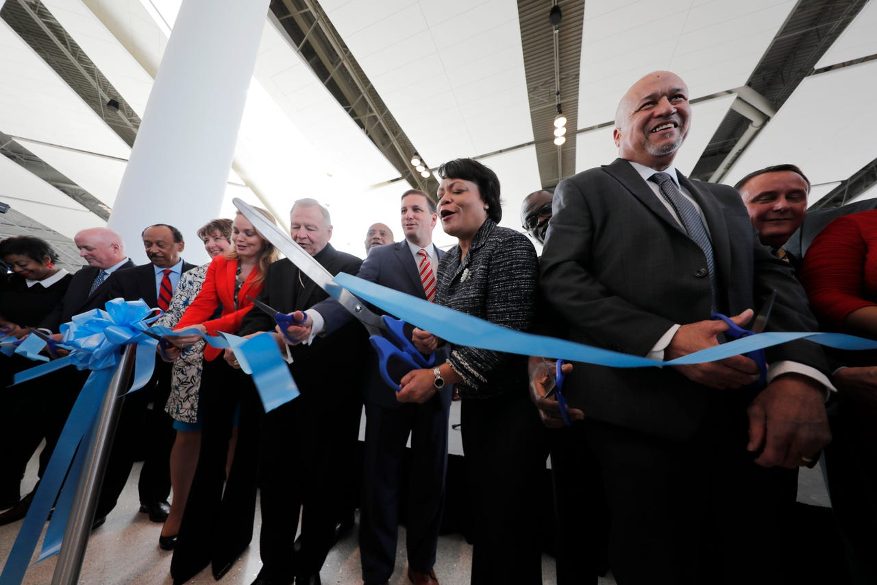 New Orleans Mayor Latoya Cantrell participates in a ribbon-cutting ceremony with other dignitaries for the opening the newly built main terminal of the Louis Armstrong New Orleans International Airport in Kenner, Louisiana, Tuesday, Nov. 5, 2019.