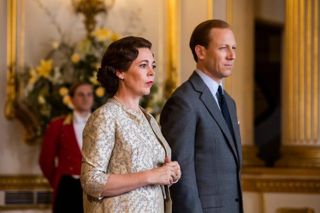 "Olivia Colman as Queen Elizabeth II and Tobias Menzies as Prince Phillip in ""The Crown."""