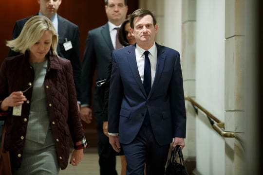 David Hale, Under Secretary of State for Political Affairs, arrives for his deposition amid the US House of Representatives' impeachment inquiry into President Trump in the US Capitol in Washington, D.C.