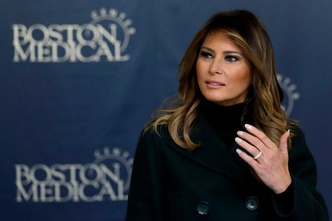 First lady Melania Trump participates in a round table discussion during a visit to Boston Medical Center, on Nov. 6, 2019.