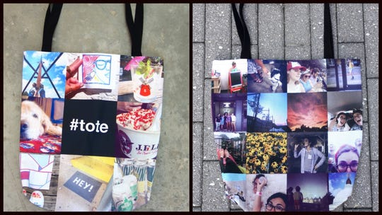 Use up to 32 different photos to create a travel bag that expresses where you've been and who've you've shared your life with.