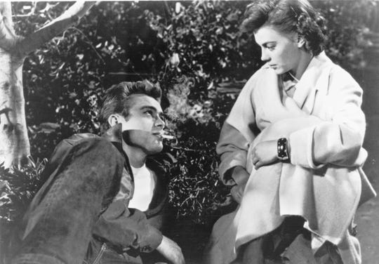 "James Dean and Natalie Wood in 1955's ""Rebel Without a Cause."""