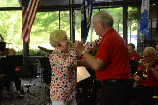 "Helen Moore (left) and Tom Jones dance to ""Cherry Pink & Apple Blossom Cha-Cha"" at the 10th annual Red River Jazz Band USO concert in 2015. Moore, who just turned 90, has been a member of the Magnolia Dance Club since 1980."