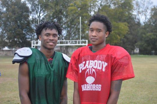 Peabody's Thomas (left) and Tyriq Miles. Thomas is a senior wide receiver and Tyriq is a junior quarterback.