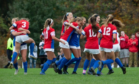 Wall celebrates after Olivia Ramiz puts in her second goal of game. Wall Girls Soccer defeats Governor Livingston 2-0 in NJSIAA Central Jersey, Group 2 Tournament Final