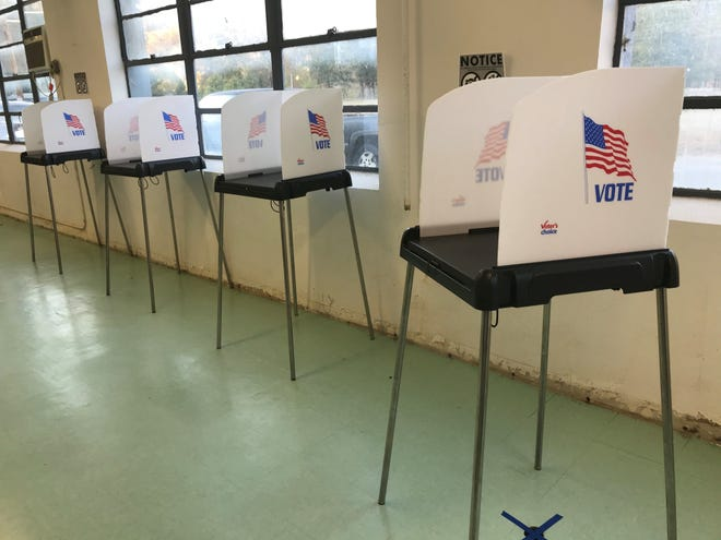 New booths for filling out paper ballots greeted voters in Marshall Nov. 5.