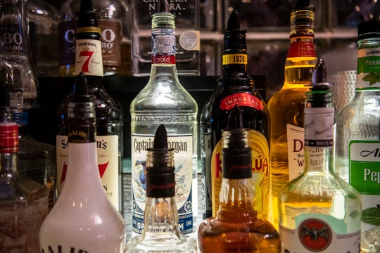 Liquor bottles are pictured at Lakeview Lounge on Thursday, Nov. 7, 2019 in Battle Creek, Mich.