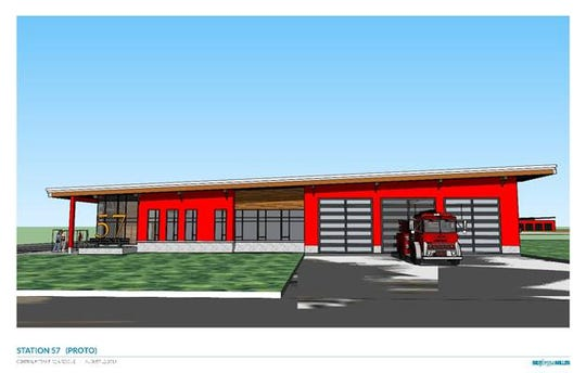 This architect's rendering shows Station 57, a new station that Central Kitsap Fire and Rescue is proposing to build on Coho Run that will serve the areas of Lake Tahuyeh, Lake Symington, Wildcat Lake, Hintzville, Crosby and Holly.