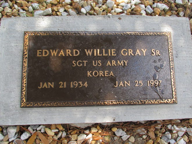 This grave plaque marks the final resting spot for Army veteran Edward Willie Gray Sr.