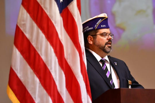 Army veteran Chris Vedvick, who did seven tours in Afghanistan and Iraq, was injured with three handgrenades on his first deployment, was the keynote speaker. A ceremony was held at Kennedy Space Center Thursday  naming KSC a Purple Heart Entity in a proclamation by the Military Order of the Purple Heart.