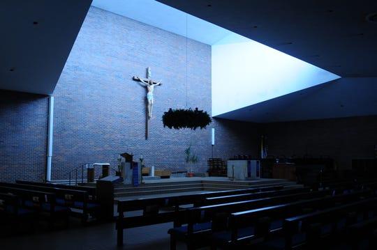 A photo of St. Bernard's church in Saranac Lake, New York, where James Larche served in 1999.