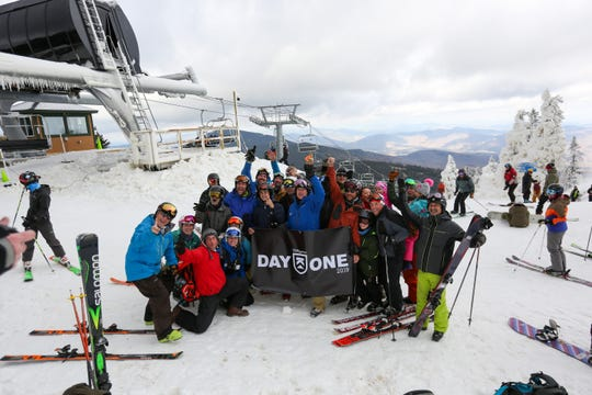 Killington Resort skiers and riders celebrate the first day of the season on Nov. 3.