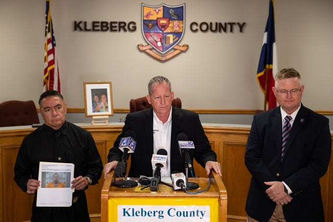 Kleberg County Sheriff Richard Kirkpatrick along with Kleberg County District Attorney John Hubert announces during a press conference that Adam Curtis Williams, 33, was been booked into the Kleberg County jail, Thursday, Nov. 7, 2019. Williams was booked on suspicion of felony theft in connection with the missing New Hampshire couple found buried at a Texas beach.