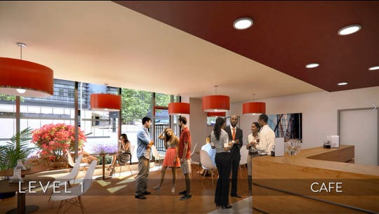 A rendering shows the cafe space on the first floor of the Joint Sciences Center in Camden.