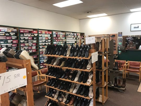 Racks of shoes on display at Bob's Bootery on Oct. 28, 2019