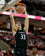 Cincinnati Bearcats center Chris Vogt (33) dunks in the second half of a college basketball game against the Ohio State Buckeyes, Wednesday, Nov. 6, 2019, at Value City Arena in Columbus, Ohio. The Ohio State Buckeyes won 64-56.