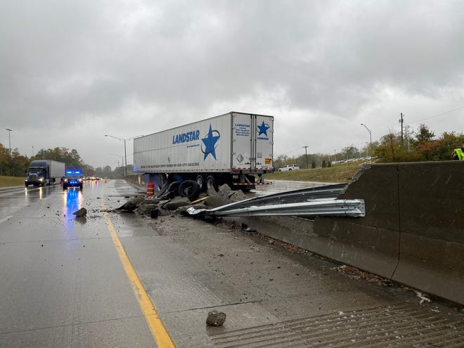 An Oct. 26, 2019, tractor-trailer crash on I-75 south into a concrete divider in Fort Mitchell, Kentucky, sent concrete chunks into the northbound lanes. A curve, a little more than 1,000-feet, at the Dixie Highway underpass, has been the site of 12 tractor trailer crashes when it has been raining between October 2018 and October 2019.