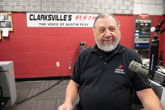 Dr. David von Palko sits inside the WAPX-FM studio at APSU.