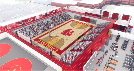 The new Carlisle Indoor Activities Center will include a gym that can seat 1,800 people, an indoor walking and running track and a fitness and weight room.