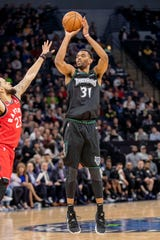 Keita Bates-Diop, pictured in a game last season with the Minnesota Timberwolves, played 30 games with the NBA club in 2018-19. He's beginning the current season with the Iowa Wolves in the NBA G League. The seasons tips off Friday night.