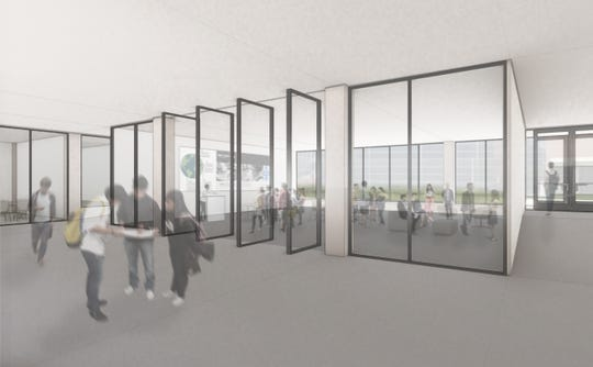 Architectural rendering of the interior of a community lab in Meredith Hall at Drake University