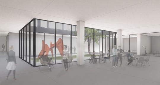 Architectural rendering of the lower floor of a community lab in Meredith Hall at Drake University