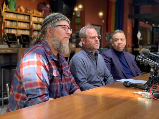 From left: Founders Brewing Co. Co-founders Dave Engbers, Mike Stevens and Thomas Group Consulting principal Buzz Thomas on Thursday, Nov. 7, 2019, at Founders' Detroit taproom.