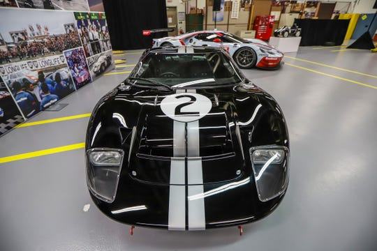 A replica of the Ford GT 40 that won 24 hours of Le Mans endurance race in 1966 and used to film 'Ford v Ferrari' is on display at the Archival Collection in the Ford Engineering building in Dearborn, on Thursday, Nov. 7, 2019.