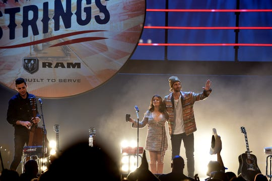 Maren Morris and Ryan Hurd onstage at Stars and Strings at the Fox Theatre in Detroit on Wednesday, Nov. 6, 2019.