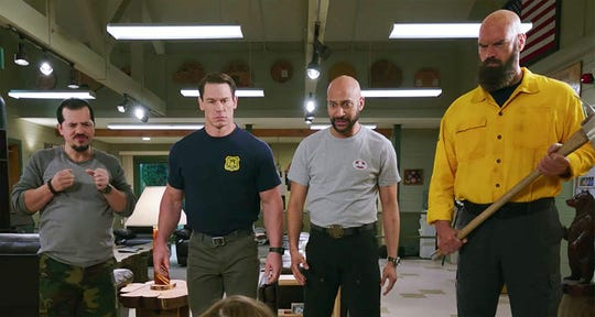 "John Leguizamo, John Cena, Keegan-Michael Key and Tyler Mane in ""Playing with Fire."""
