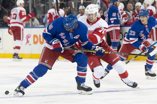 New York Rangers defenseman Marc Staal (18) skates against Detroit Red Wings center Christoffer Ehn (70) during the first period of an NHL hockey game, Wednesday, Nov. 6, 2019, at Madison Square Garden in New York.