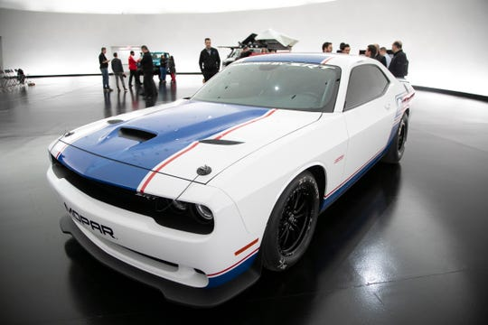 The Dodge Challenger Drag Pak on display during a press event of the Mopar offerings, Monday, Oct. 28, 2019 at the Design Dome inside of FCA headquarters. The display served as a sneak peak to the Specialty Equipment Market Association show in Las Vegas.