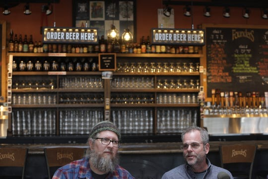 Co-founders Dave Engbers, left, and Mike Stevens speak to the media about reopening the Founders Brewery in Detroit on Thursday, Nov. 7, 2019.