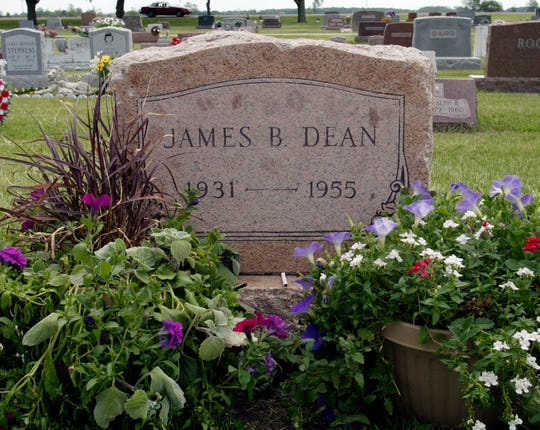 The grave of actor James Dean in Fairmount, Ind.