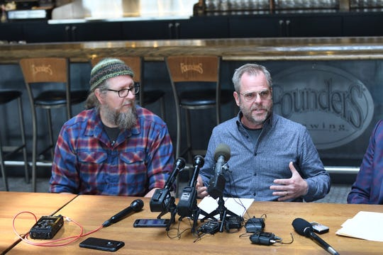 Dave Engbers (left) and Mike Stevens, co-founders of Founders Brewing Co., announce that all profits from the Detroit taproom will benefit Detroit charities and community organizations through at least 2022.
