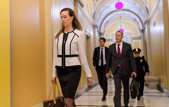 Jennifer Williams, a special adviser to Vice President Mike Pence for Europe and Russia, arrives for a closed-door interview in the impeachment inquiry at the Capitol in Washington, Thursday, Nov. 7, 2019.