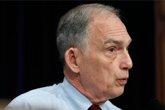FILE - In this May 1, 2019 file photo, Rep. Peter Visclosky, D-Ind., speaks on Capitol Hill in Washington. Visclosky isn't running for reelection and will be retiring after 36 years in Congress.