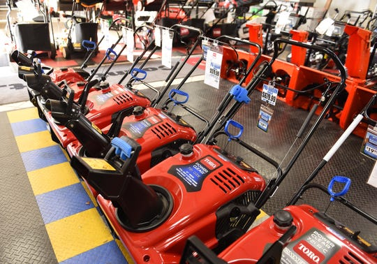 Snowblowers on display and for sale at Hellebuyck's Power Equipment Center in Warren, on November 7, 2019.