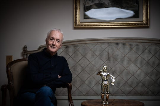 Anthony Daniels, who played C-3PO in Star Wars, poses during a photo session in Paris on Oct. 7, 2019.