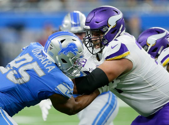 Lions defensive end Romeo Okwara (95) was sidelined for Thursday's practice.