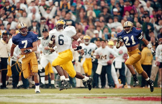 Tyrone Wheatley played at Michigan from 1991-94 and rushed for 4,187 yards and 47 touchdowns.