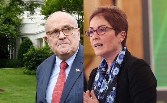 Former New York City Mayor Rudy Giuliani, left, and Former U.S. ambassador to Ukraine Marie Yovanovitch.