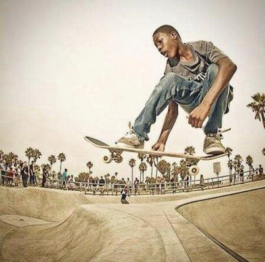 Colorado State football player Marshaun Cameron flies through the air at a skate park on the beach in Venice, Calif., as a teenager.