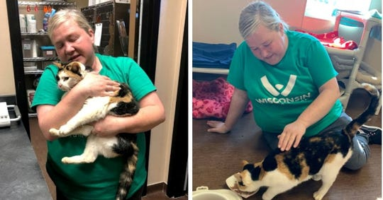 Sally Alfonso, a Door County Humane Society employee, was intaking strays Tuesday when she was brought Barty, her own cat who'd been missing for nearly a year.