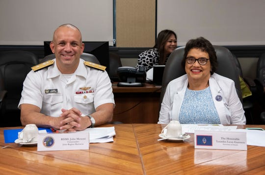 Rear Adm. John Menoni and Gov. Lou Leon Guerrero at the the Civil-Military Coordination Council meeting at the Joint Region Marianas headquarters on Nov. 6.
