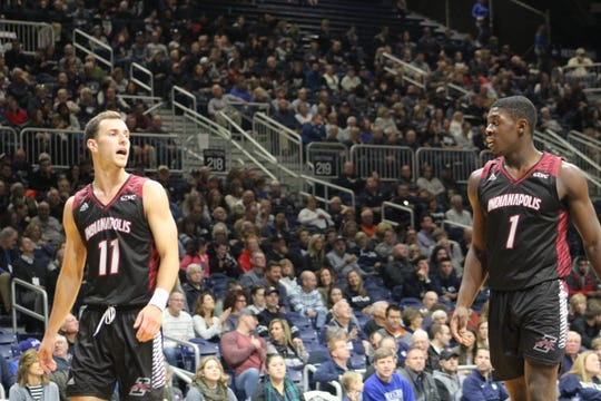 UIndy guard Jimmy King (left) and forward Kendrick Tchoua (right) will be key contributors for the Greyhounds this season.