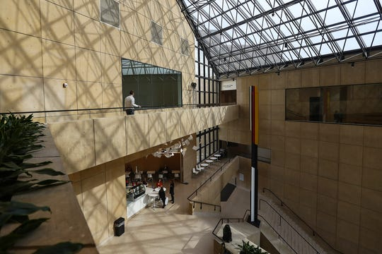 A new bridge on the top floor better connects two triangular structures that make up the renovated Eskenazi Museum of Art at Indiana University in Bloomington, Ind., seen Monday, Nov. 4, 2019. The $30 million renovation is the first since the I.M. Pei-designed museum was constructed in 1982.